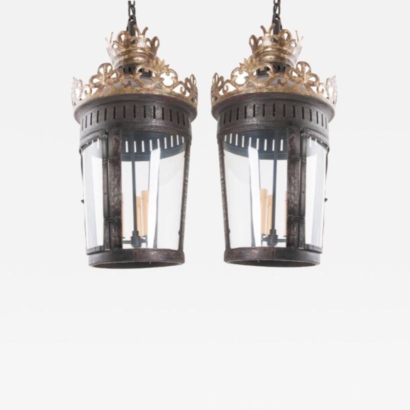 Pair of Italian Reproduction Iron and Gilt Lanterns