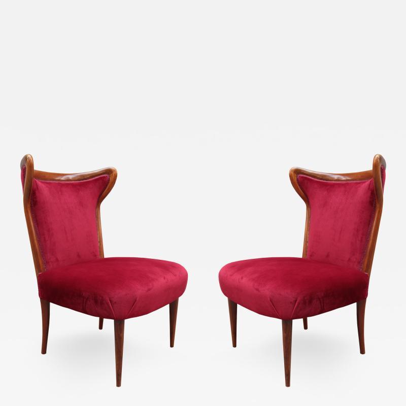 Pair of Italian mid century Pull Up Chairs