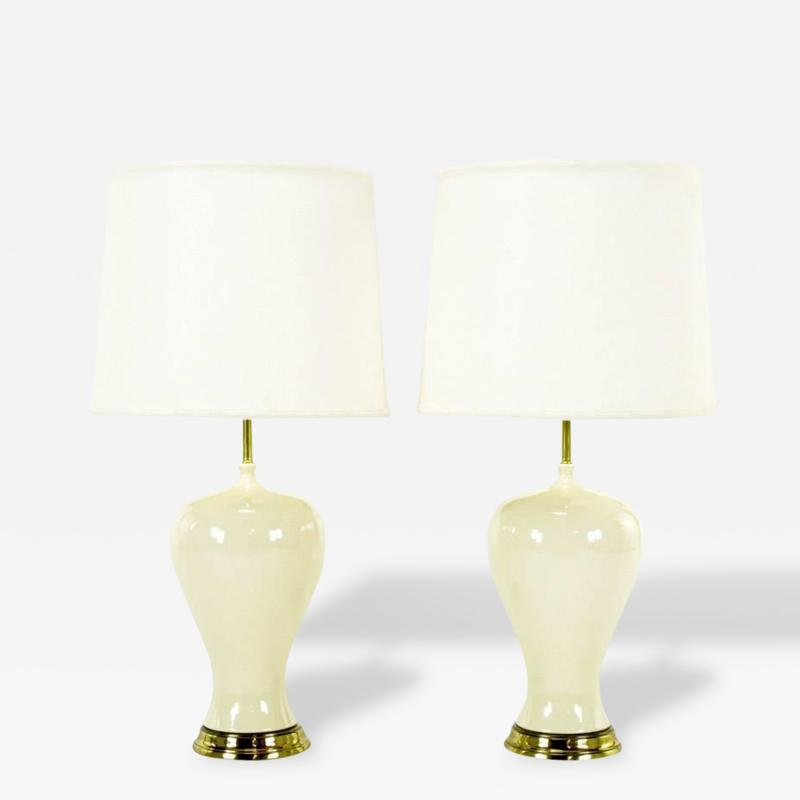 Pair of Ivory Glazed Curvaceous Vase Form Ceramic Table Lamps