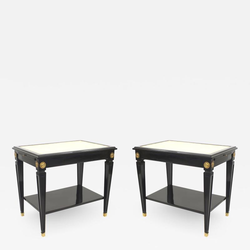 Pair of Jansen Ebonized White Leather Top End Tables