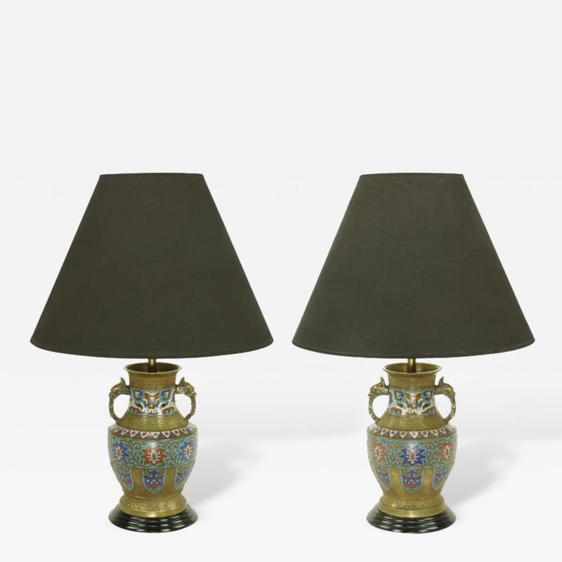 Pair of Japanese Brass Champlev Cloisonn Urn Form Table Lamps