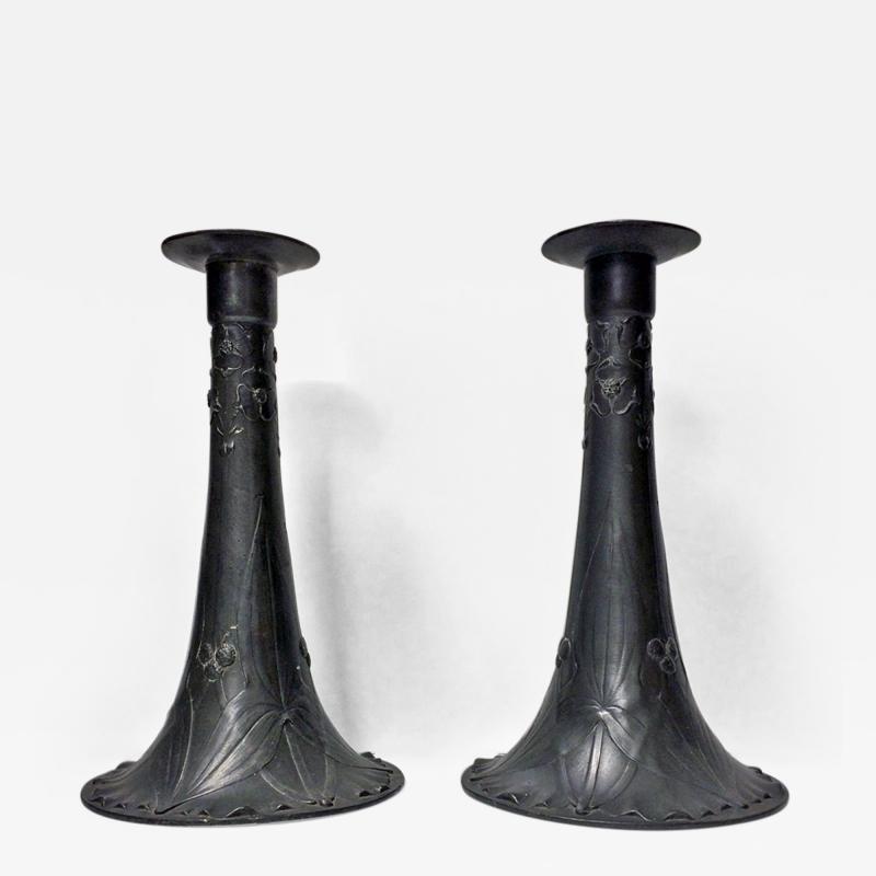 Pair of Kayserzinn Pewter Candlesticks Germany C 1900