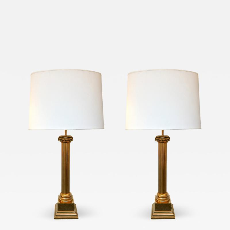 Pair of Lamps Brass Neo Classical Column by Jordan United Kingdom 1980s