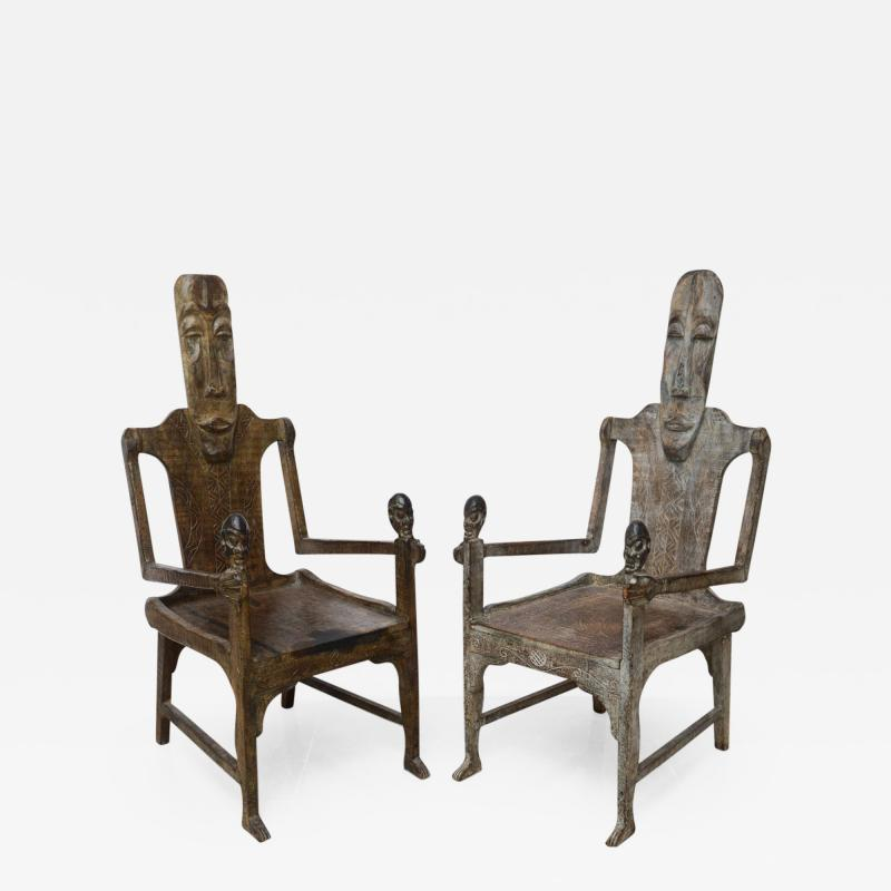 Pair of Large African Rootwood Armchairs Late 19th Early 20th Century