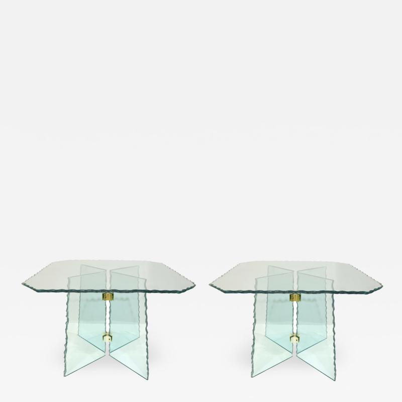 Pair of Large Artisan Italian Glass End Tables 1970s