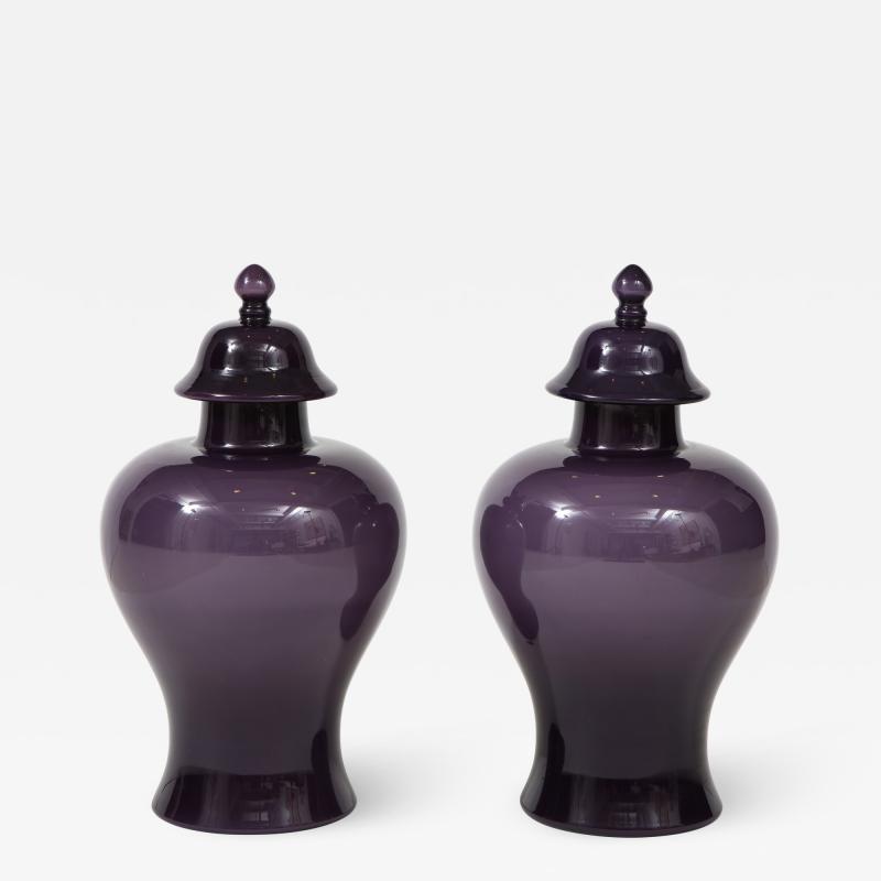 Pair of Large Aubergine Glass Lidded Ginger Jars