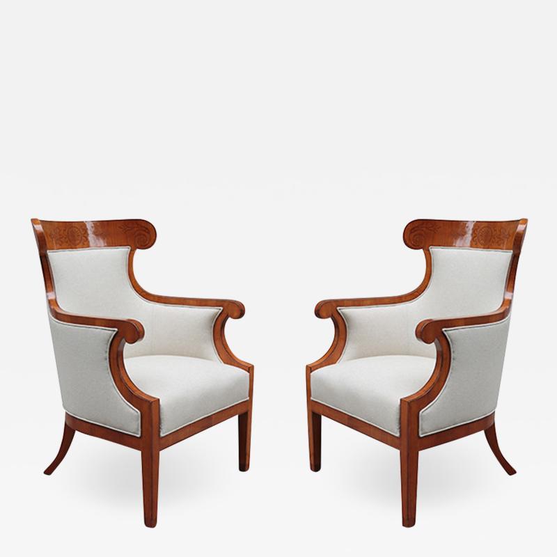 Pair of Large Biedermeier Armchairs