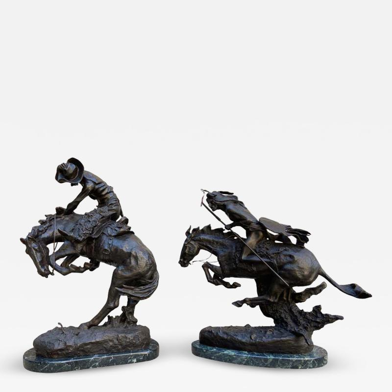 Pair of Large Bronze Table Sculptures with Marble after Frederic Remington