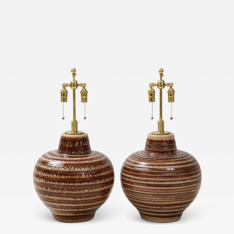 Pair of Large Ceramic Lamps
