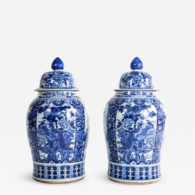 Pair of Large Contemporary Blue and White Ceramic Jars with Lids