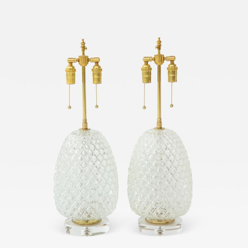 Pair of Large Cut Glass Pineapple Lamps