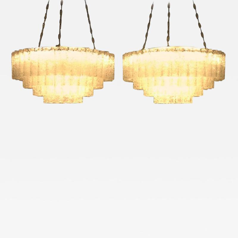 Pair of Large Doria Ice Glass Flush Mount Chandelier Germany 1960s
