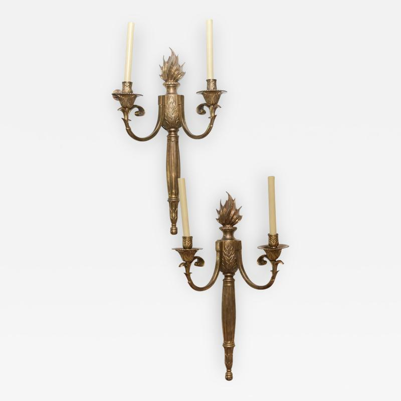 Pair of Large Empire Revival Bronze Two Light Wall Appliques France