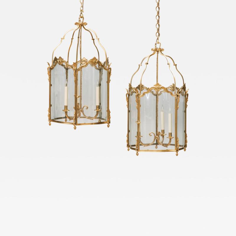 Pair of Large Louis XV Style Gilt Bronze Lanterns 19th Century