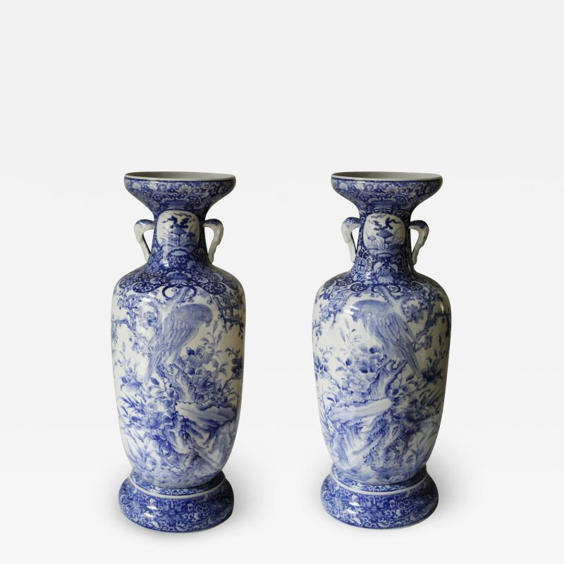 Pair of Large Meiji Period Blue and White Porcelain Vases