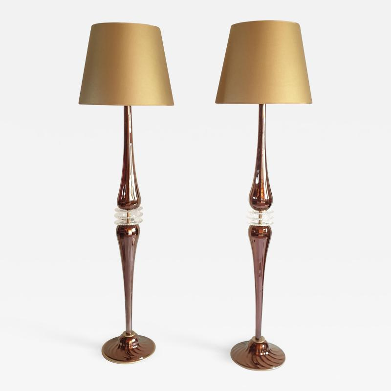 Pair of Large Mid Century Modern Mirrored copper color Murano Glass Floor Lamps