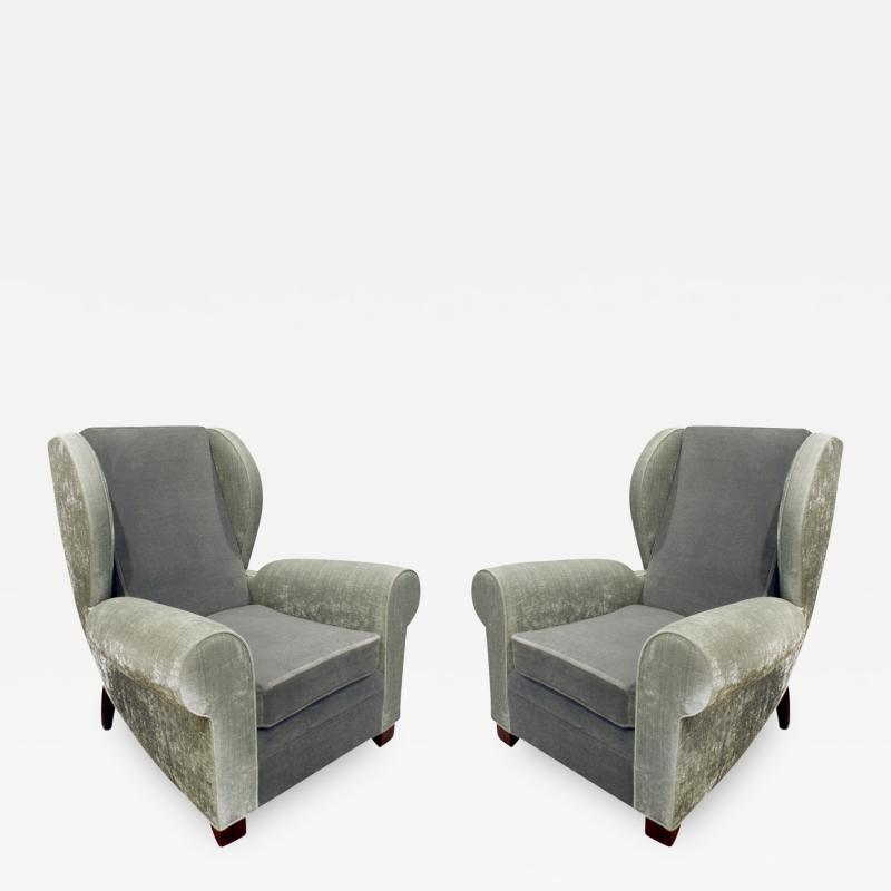 Pair of Large Sculptural French Wing Chairs 1930s