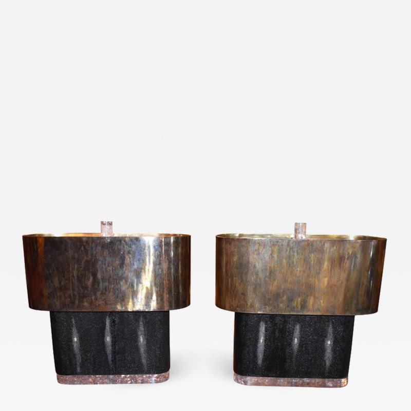 Pair of Large Shagreen and Resin with Brass Shades