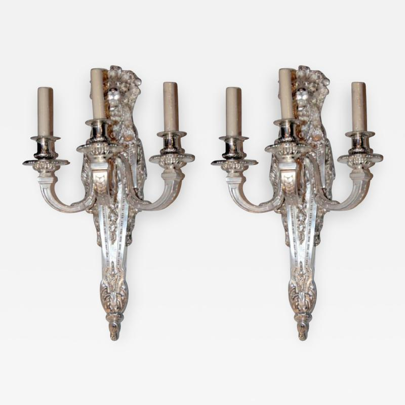 Pair of Large Silver Plated Sconces