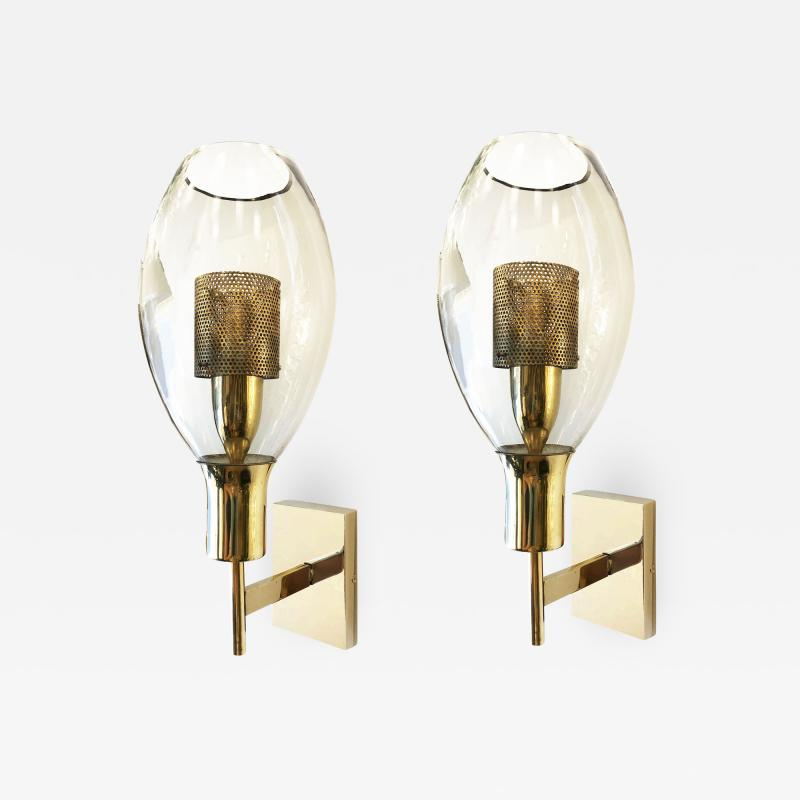 Pair of Large Smoked Glass Sconces