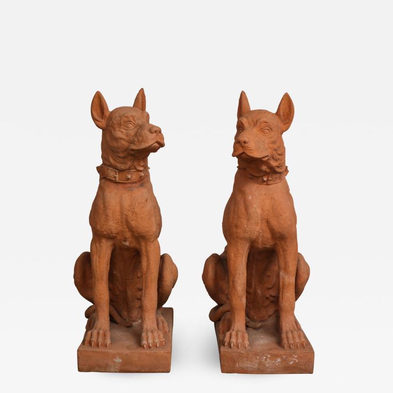 Pair of Large Terra Cotta Great Dane Dog Statues