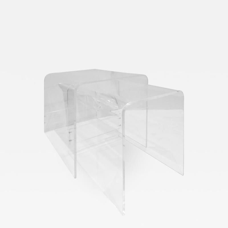 Pair of Large Waterfall Nesting Tables in Lucite 1970s