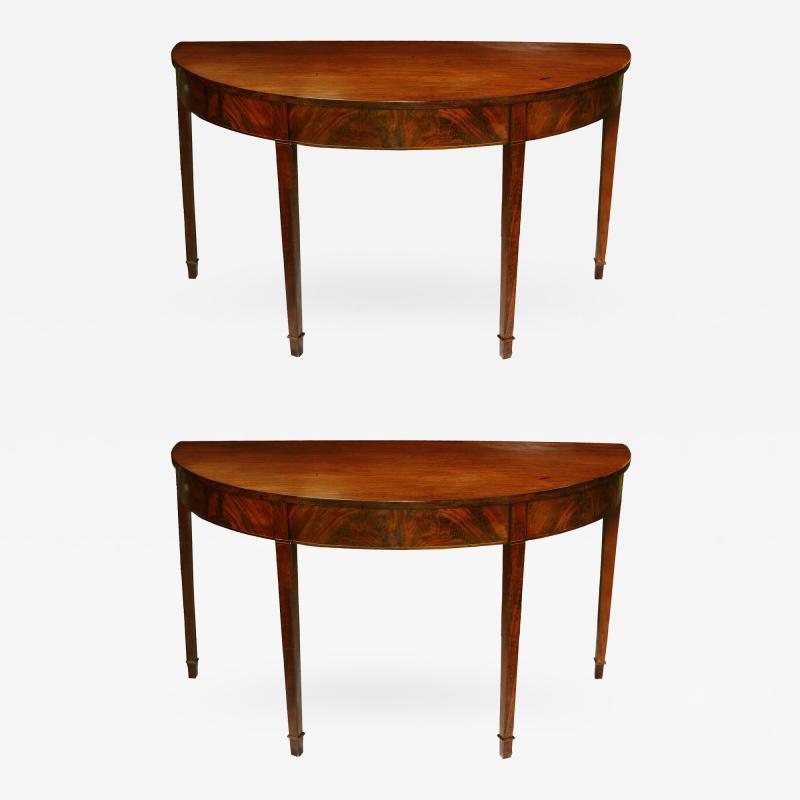 Pair of Late 18th Century Hepplewhite Mahogany Demilune Tables