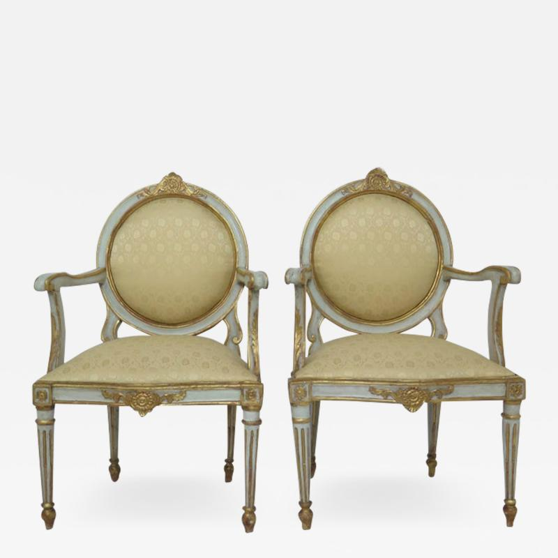 Pair of Late 18th Century Italian Neoclassic Armchairs
