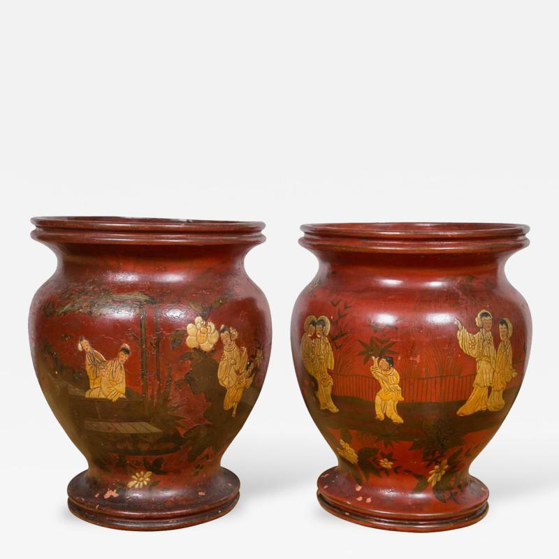Pair of Late 19th Century Red Lacquer Chinoiserie Vases