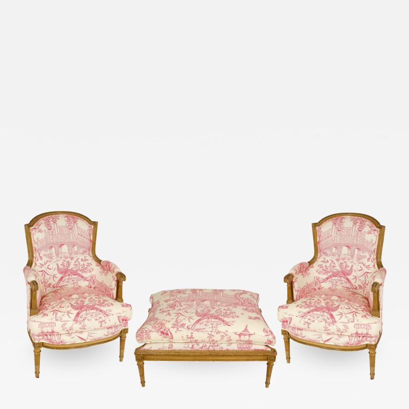 Pair of Louis XVI Style Berg res with Ottoman