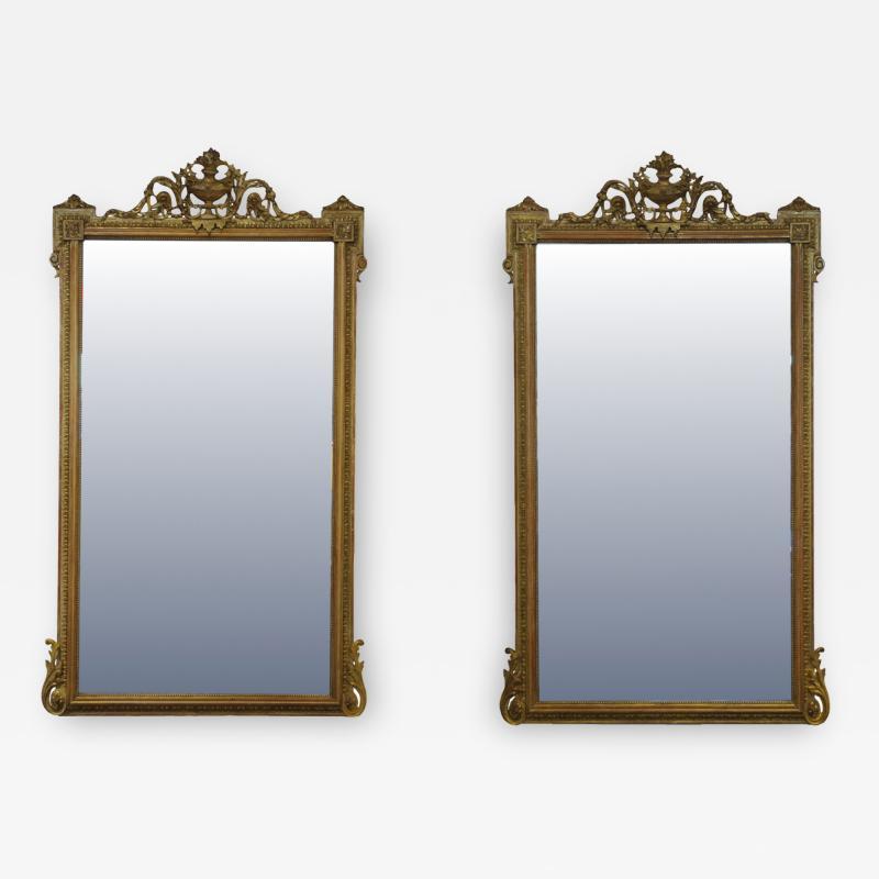 Pair of Louis XVI Style Giltwood Pier Mirrors c 1840