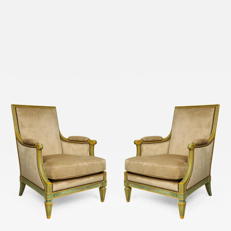 Pair of Louis XVI Style Painted Bergeres Attributed to Maison Jansen