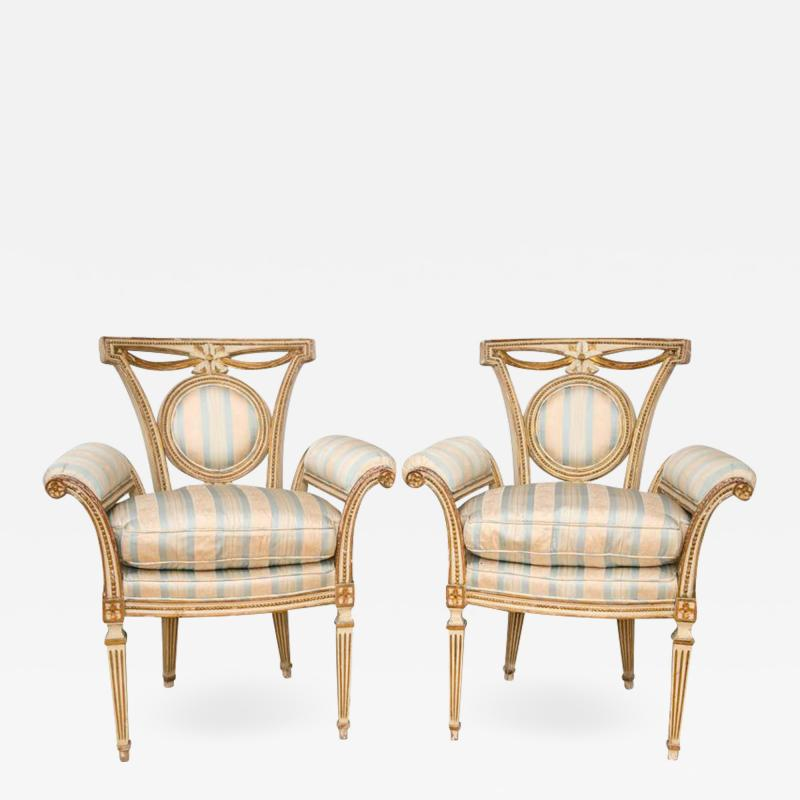 Pair of Louis XVI Style Parcel Gilt Upholstered Fauteuils
