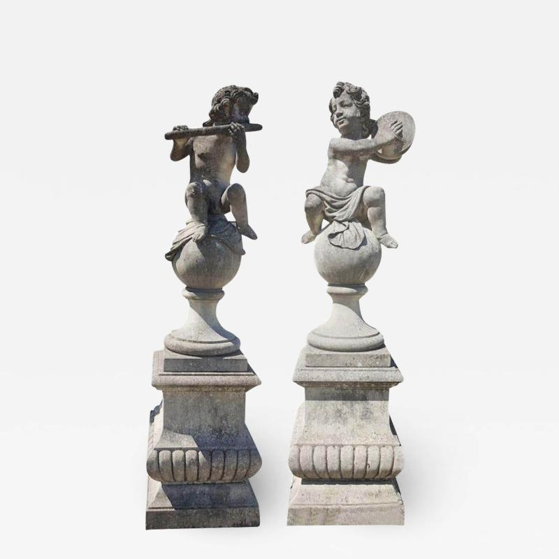 Pair of Lovely Italian Putto Stone Garden Statues Representing Musicians