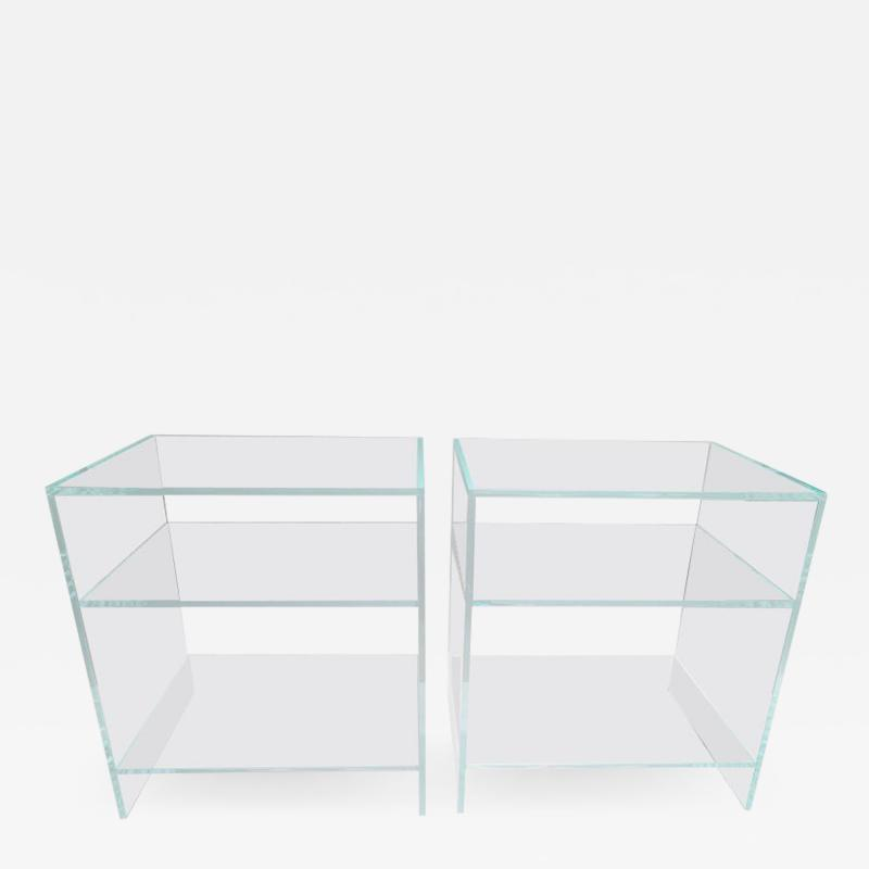 Pair of Lucite Nightstands End Tables