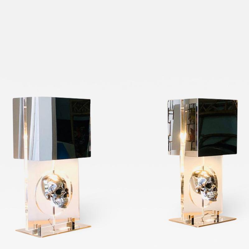 Pair of Lucite and Stainless Steel Modern Skull Table Lamps