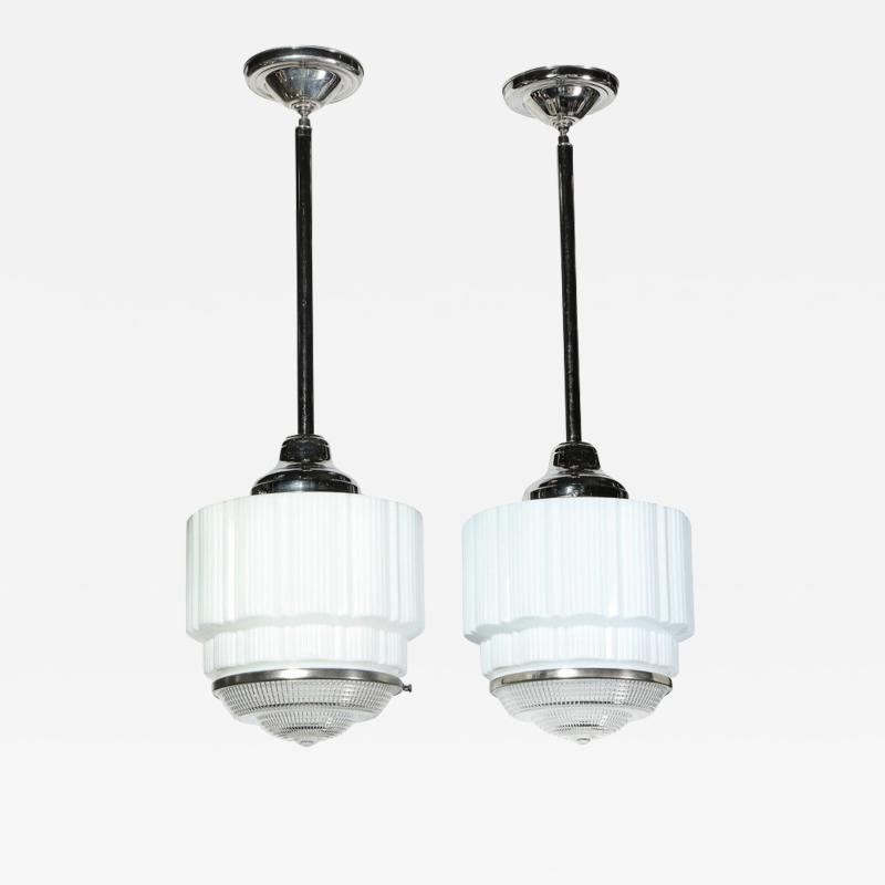Pair of Machine Age Art Deco Skyscraper Milk Glass Pendants with Nickel Fittings