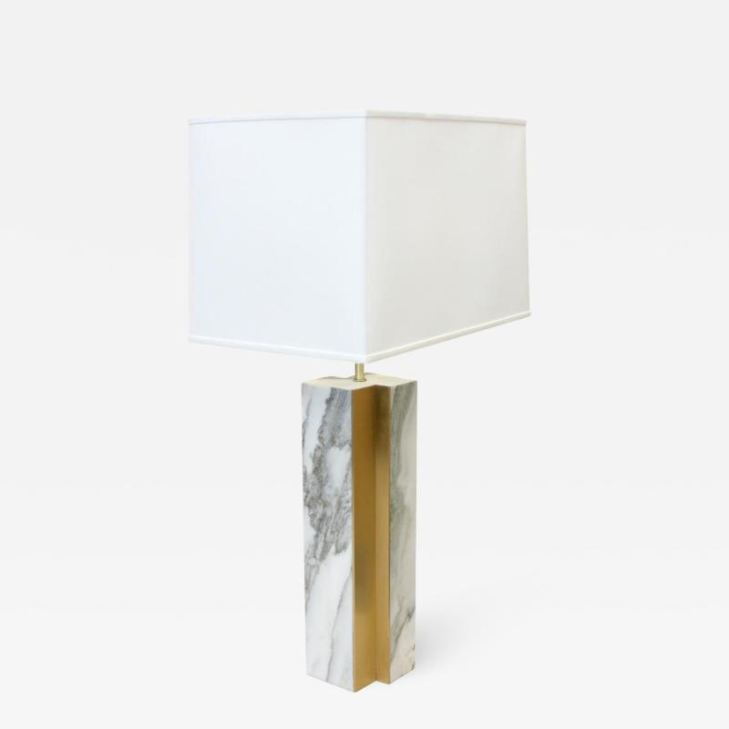 Pair of Marble lamp fluted bronze accent Designed by James Devlin Studio