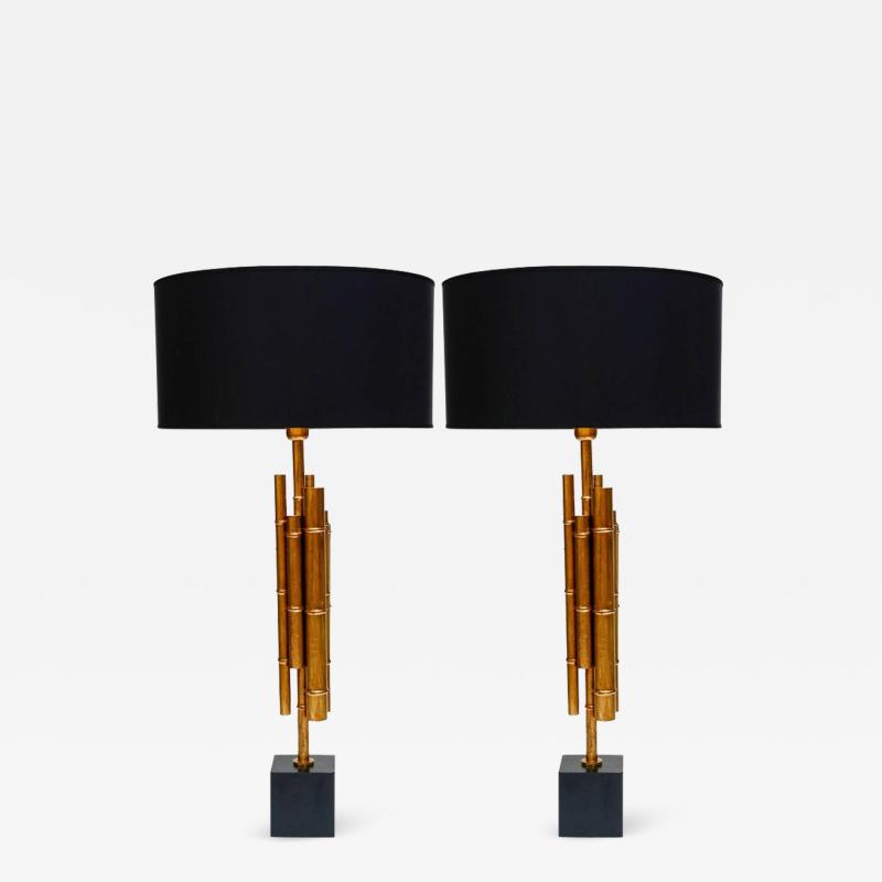 Pair of Metal and Brass Bamboo Style Table Lamps