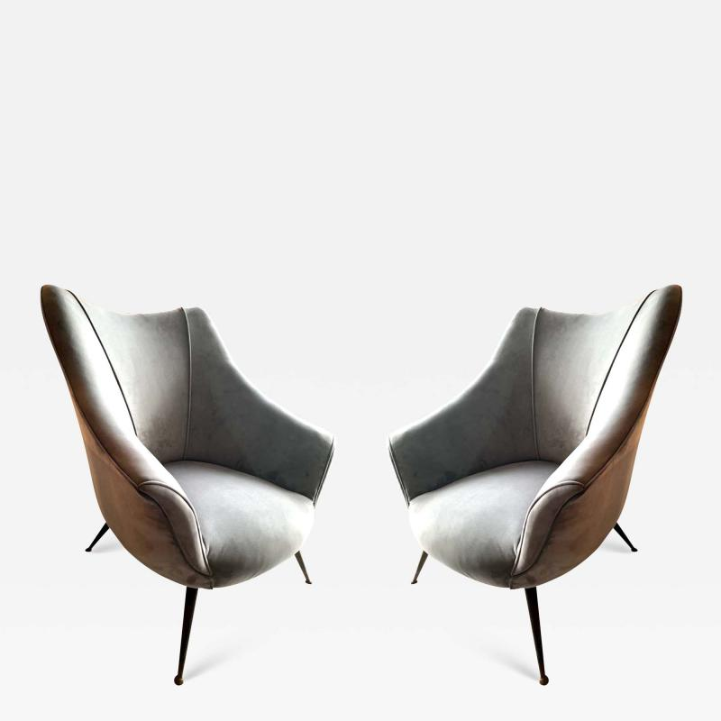 Pair of Mid Century Barrel Shaped Club Chairs Italy circa 1955