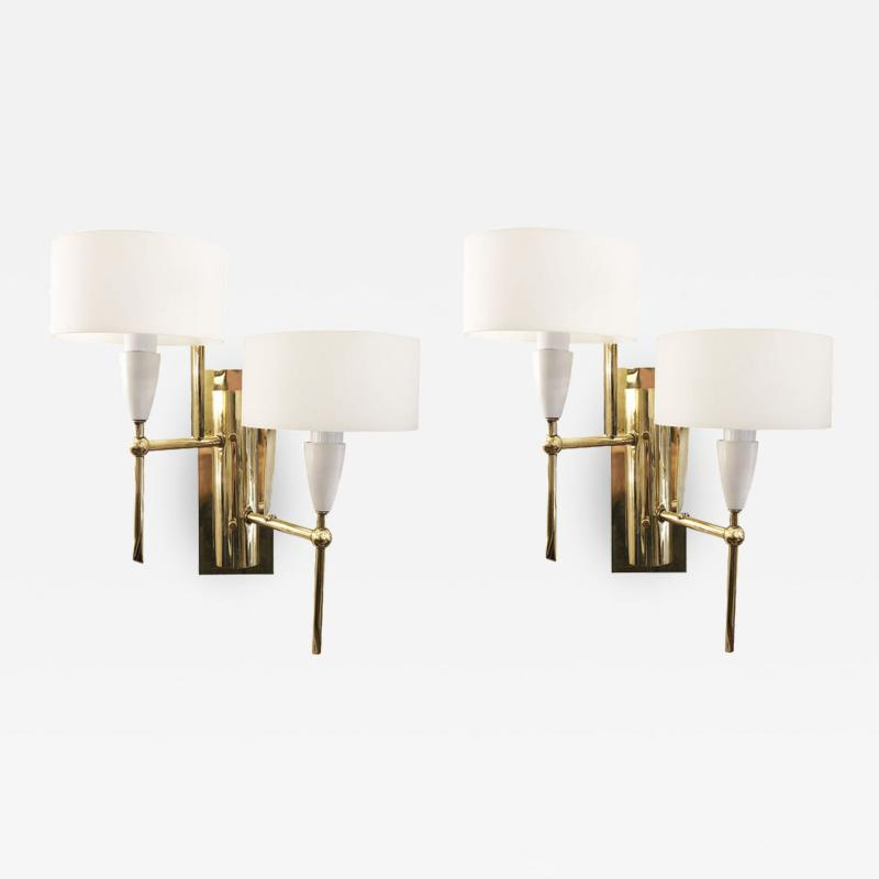 Pair of Mid Century Brass and Glass Sconces