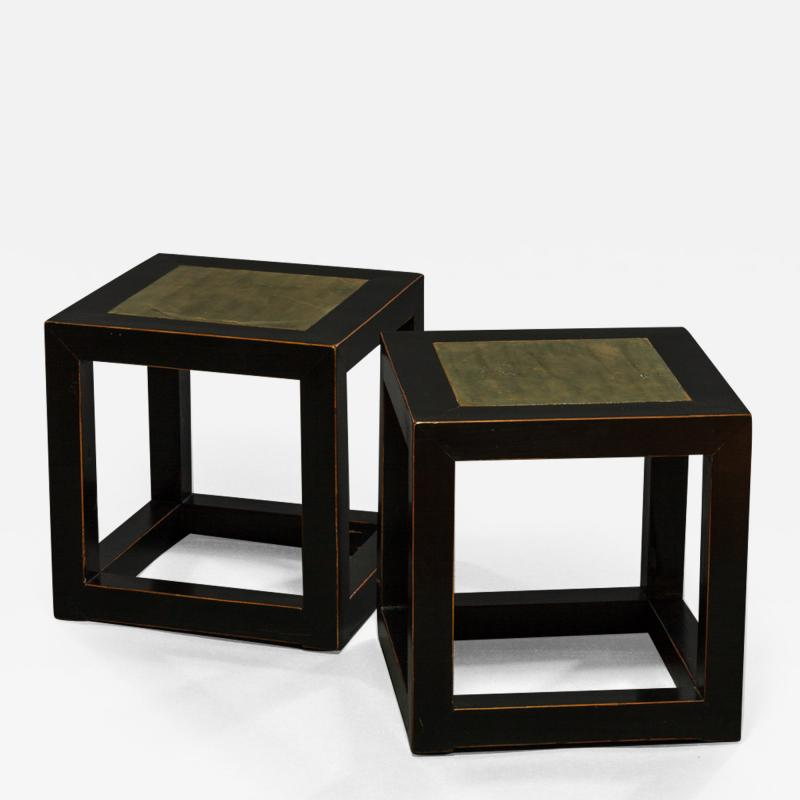 Pair of Mid Century Chinese Black Lacquer Cube Stone Top Tables