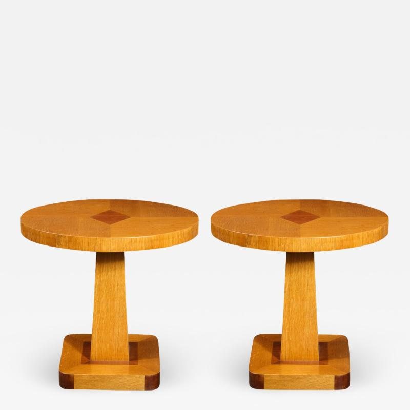 Pair of Mid Century End Tables in Hand Rubbed Bookmatched Elm w Walnut Inlay
