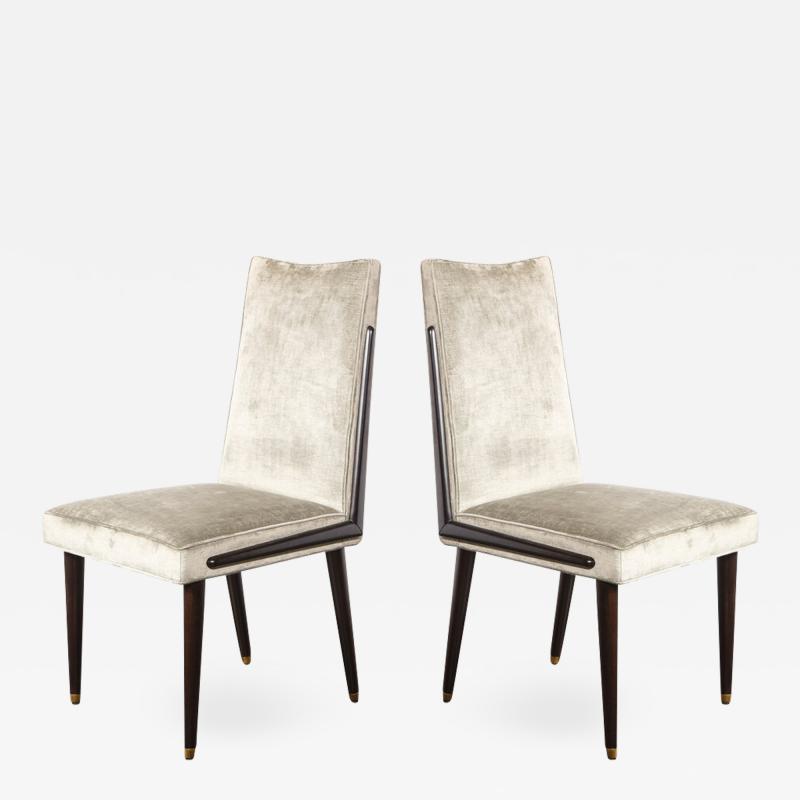 Pair of Mid Century Modern Ebonized Walnut Platinum Velvet Side Chairs