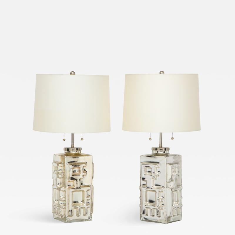 Pair of Mid Century Modern Mercury Silver Lamps