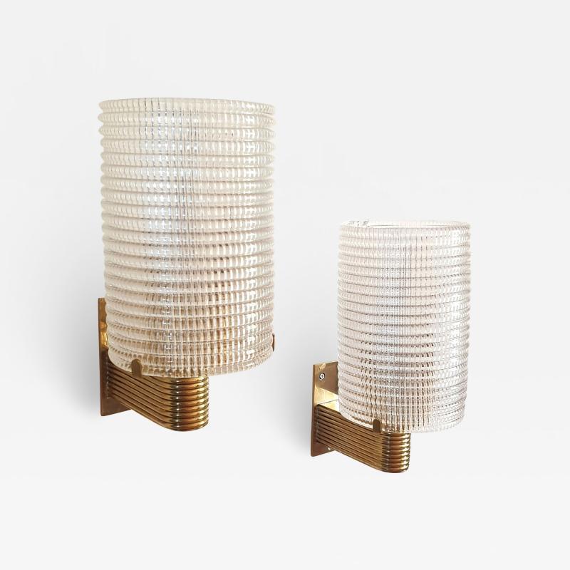 Pair of Mid Century Modern Murano glass brass sconces Italy 1960s