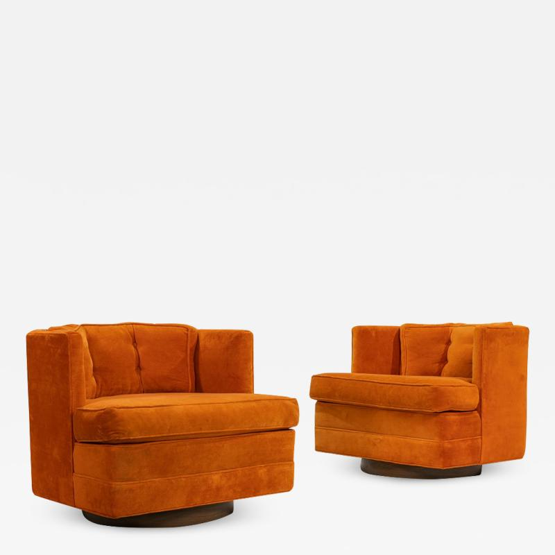 Pair of Mid Century Modern Swivel Lounge Chairs