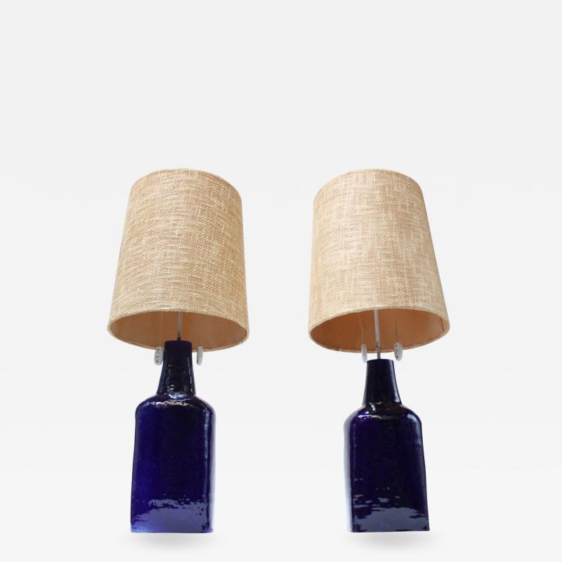 Pair of Mid Century Swiss Oversized Ceramic Table Lamps by Mattli