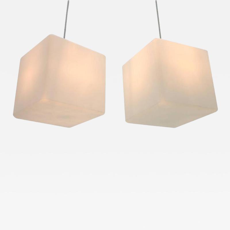 Pair of Milk Glass Cube Pendants by Stilnovo Italy 1960s