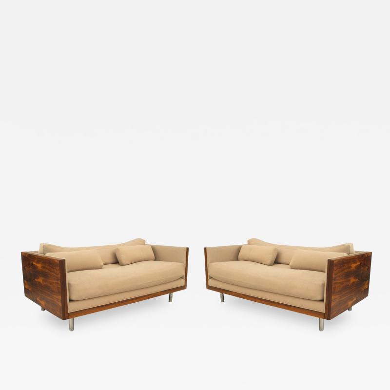 Pair of Milo Baughman Designed Rosewood Loveseats